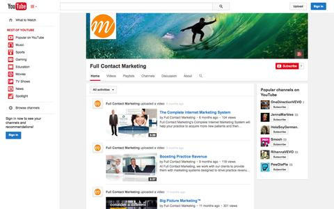 Screenshot of YouTube Page youtube.com - Full Contact Marketing  - YouTube - captured Oct. 25, 2014