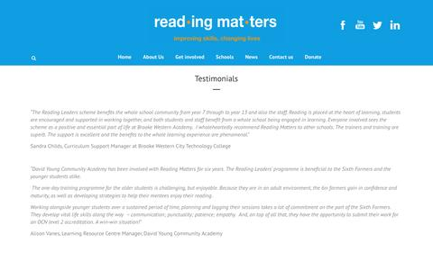 Screenshot of Testimonials Page readingmatters.org.uk - Testimonials - Reading Matters - captured Aug. 12, 2016