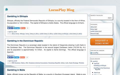Screenshot of Blog locusplay.com - LocusPlay - Mobile Lottery Platform - captured July 22, 2018