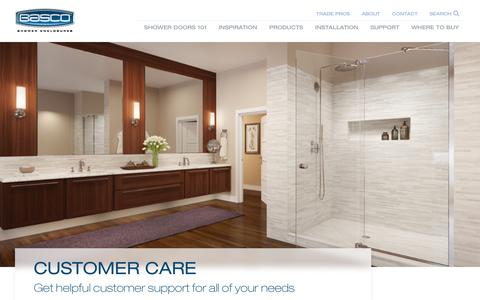 Screenshot of Support Page bascoshowerdoor.com - Basco Shower Doors - captured July 5, 2018