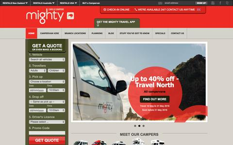 Screenshot of Home Page mightycampers.co.nz - Cheap Campervan Hire New Zealand - Mighty Campers New Zealand. - captured June 9, 2016