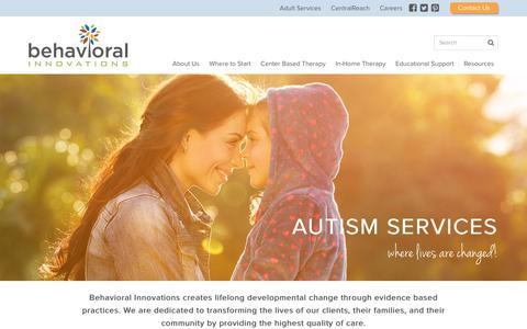 Screenshot of Home Page behavioral-innovations.com - Autism Services | Behavioral Innovations - captured June 1, 2017