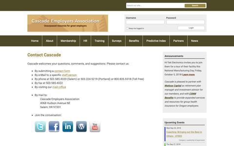 Screenshot of Contact Page cascadeemployers.com - Contact Cascade - captured Sept. 27, 2018