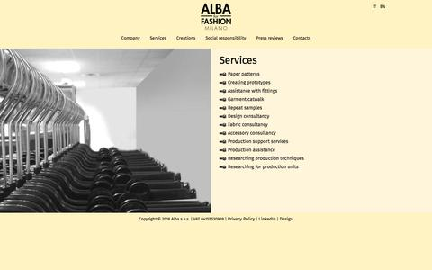 Screenshot of Services Page albaforfashion.it - Alba for Fashion Milano - I nostri servizi - captured July 29, 2018