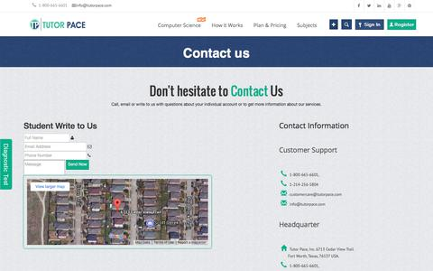 Screenshot of Contact Page tutorpace.com - Contact Us - Online Tutoring, Homework & Assignment Help   Tutorpace - captured Jan. 17, 2018
