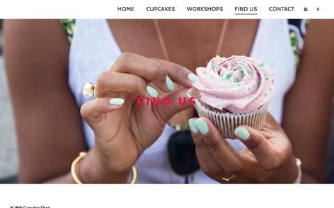 Screenshot of About Page yummcupcakes.com - FIND US | - captured Dec. 20, 2015