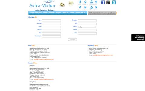 Screenshot of Contact Page indianastrologysoftware.com - Branch Offices of Astro-Vision - captured Sept. 18, 2014
