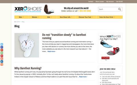 Screenshot of Blog xeroshoes.com - Blog - Xero Shoes - captured Sept. 9, 2016