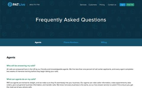 Screenshot of FAQ Page patlive.com - Answering Service & Virtual Receptionist FAQs | PATLive - captured May 12, 2017