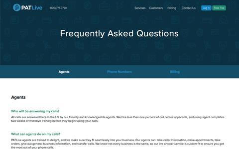 Screenshot of FAQ Page patlive.com - Answering Service & Virtual Receptionist FAQs | PATLive - captured May 12, 2017