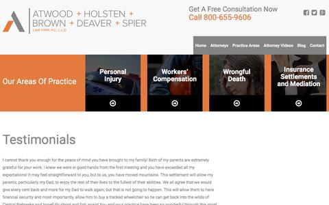 Screenshot of Testimonials Page atwoodlawyers.com - Testimonials | Atwood, Holsten, Brown, Deaver & Spier Law Firm, P.C., L.L.O | Lincoln, Nebraska - captured Nov. 21, 2016