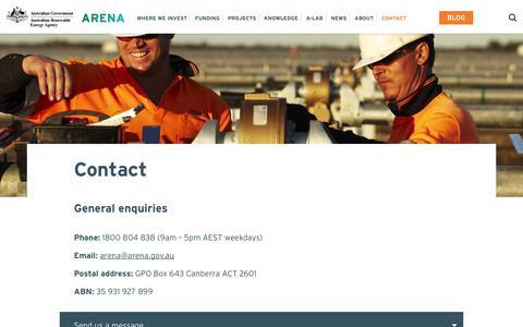 Screenshot of Contact Page arena.gov.au - Contact - Australian Renewable Energy Agency - captured June 27, 2017