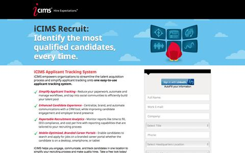 Screenshot of Landing Page icims.com - Applicant Tracking Software | Recruitment Software | iCIMS Talent Acquisition Suite - captured Jan. 22, 2017