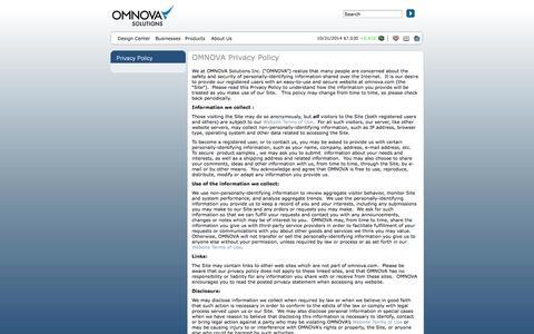 Screenshot of Privacy Page omnova.com - OMNOVA - Privacy Policy - captured Nov. 3, 2014