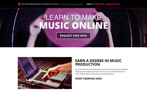 Screenshot of Landing Page lafilm.edu - go.lafilm.edu  Music Production Online - go.lafilm.edu - captured Oct. 27, 2016