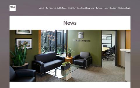Screenshot of Press Page koll.com - The Koll Company - News - captured Oct. 6, 2014