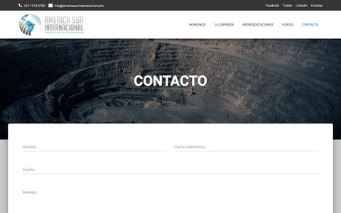Screenshot of Contact Page americasurinternacional.com - CONTACTO – America Sur Internacional - captured July 28, 2018
