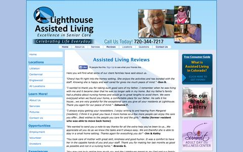 Screenshot of Testimonials Page lighthouseassistedliving.com - Assisted Living Reviews from Lighthouse Assisted Living Homes - captured Oct. 3, 2014