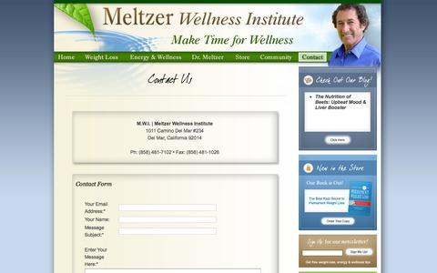 Screenshot of Contact Page Press Page maketimeforwellness.com - Meltzer Wellness Institute: Make Time for Wellness - captured Feb. 4, 2016