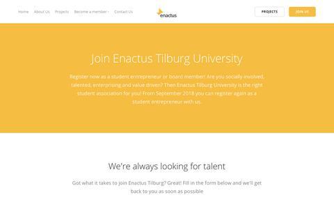 Screenshot of Signup Page enactustilburg.nl - Join – Enactus Tilburg - captured Oct. 1, 2018