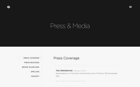 Screenshot of Press Page squarespace.com - Press Coverage — Squarespace - captured Oct. 14, 2015