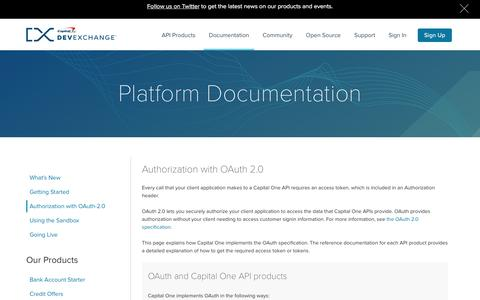 Authorization with OAuth-2.0 | Capital One DevExchange