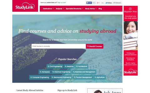 Screenshot of Home Page studylink.com - Study Abroad Course Search and Advice | StudyLink - captured Sept. 19, 2014
