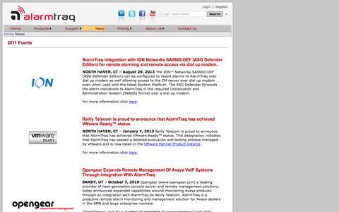 Screenshot of Press Page alarmtraq.com captured Sept. 30, 2014