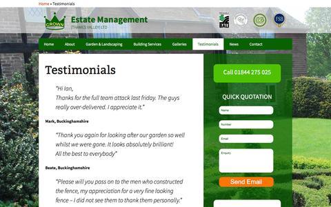 Screenshot of Testimonials Page crownestatemanagement.co.uk - Testimonials   Crown Estate Management - captured Dec. 13, 2015