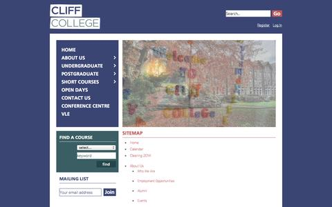 Screenshot of Site Map Page cliffcollege.ac.uk - Cliff College | Sitemap - bible college, christian college, bible training, theological college, m... - captured Sept. 30, 2014