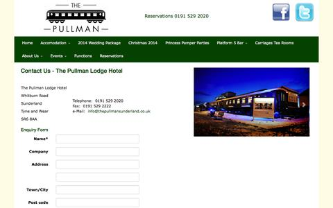 Screenshot of About Page thepullmansunderland.co.uk - The Pullman | Contact Us - The Pullman Lodge Hotel - captured Nov. 5, 2014