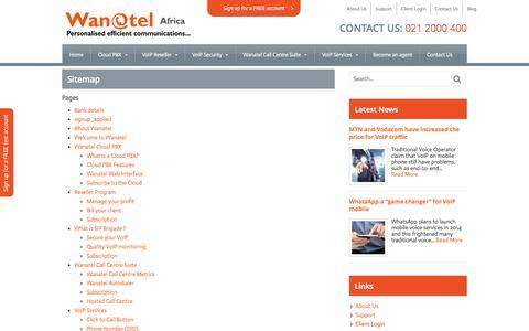 Screenshot of Site Map Page wanatel.co.za - Sitemap   Wanatel - captured Oct. 7, 2014