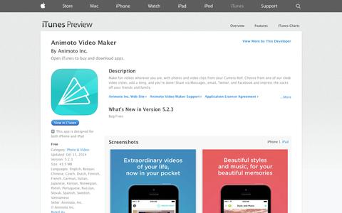 Screenshot of iOS App Page apple.com - Animoto Video Maker on the App Store on iTunes - captured Oct. 22, 2014