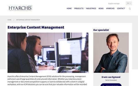 Screenshot of Products Page hyarchis.com - Enterprise Content Management System | ECM software | Hyarchis - captured Nov. 11, 2018