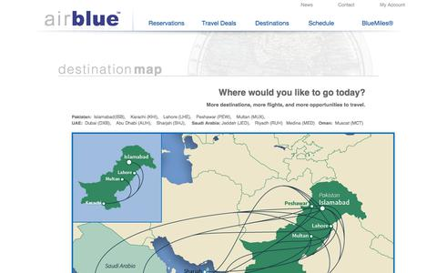Screenshot of Maps & Directions Page airblue.com - Destination Map - captured July 29, 2018