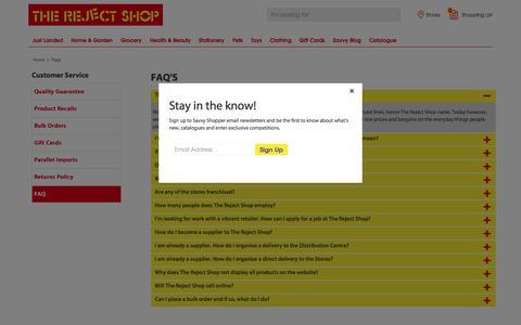 Screenshot of FAQ Page rejectshop.com.au - FAQs | The Reject Shop - captured Sept. 25, 2017