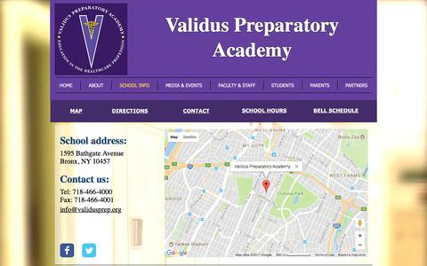 Screenshot of Contact Page Maps & Directions Page validusprep.org - validus | SCHOOL INFO - captured Oct. 26, 2017