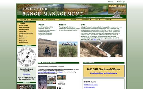 Screenshot of Home Page rangelands.org - Society for Range Management - captured Oct. 10, 2015