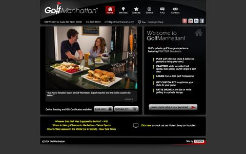Screenshot of Home Page golfmanhattan.com - Golf Manhattan – Indoor Golf, Golf Lessons, & Indoor Driving Range - Home - captured Sept. 30, 2014