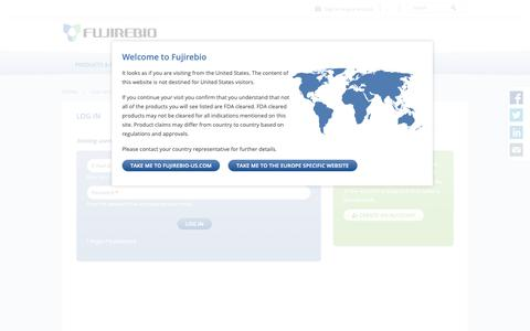 Screenshot of Login Page fujirebio-europe.com - Log in | Fujirebio Europe - captured Oct. 11, 2018