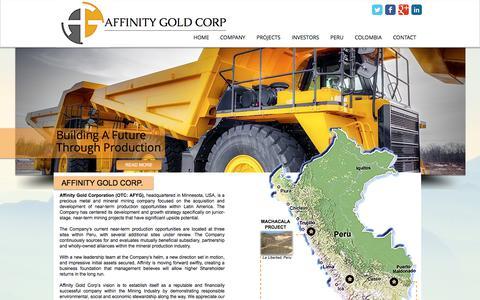 Screenshot of Home Page affinitygold.com - Affinity Gold Corp.    Junior Mining    Precious Metals - captured Oct. 7, 2017
