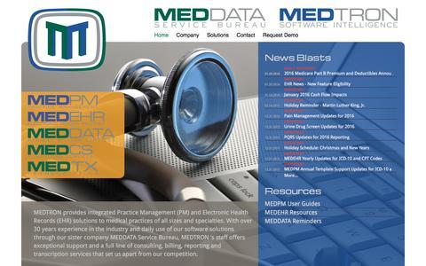 Screenshot of Home Page medtronsoftware.com - Medtron Software - captured Feb. 3, 2016