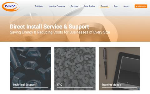 Screenshot of Support Page nrminc.com - Direct Install Service & Support - captured Feb. 28, 2016