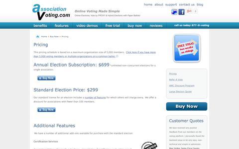 Screenshot of Pricing Page associationvoting.com - Pricing - captured Nov. 2, 2014