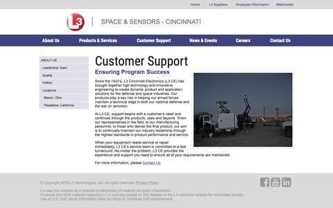 Screenshot of Support Page cinele.com - L3 Space & Sensors - Cincinnati - captured March 19, 2019