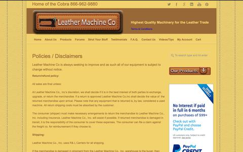 Screenshot of Terms Page leathermachineco.com - Leather Machine Company Pollicies/Disclaimers | Leather Machine Co - captured Sept. 27, 2018