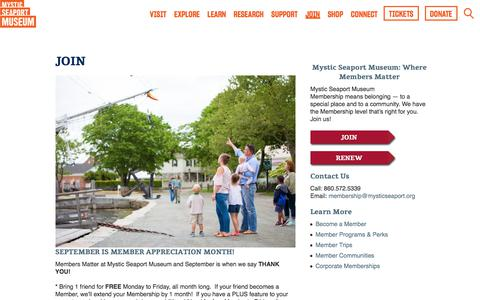 Screenshot of Signup Page mysticseaport.org - Join - Mystic Seaport Museum - Become a Member Today!Mystic Seaport - captured Sept. 20, 2019