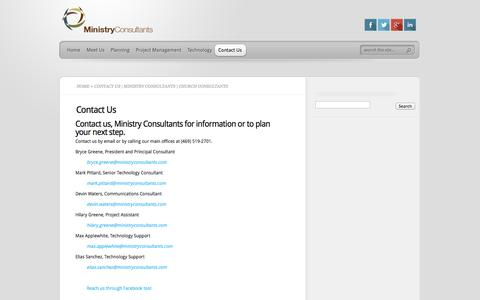 Screenshot of Contact Page ministryconsultants.com - Contact Us | Ministry Consultants | Church Consultants - captured Oct. 9, 2014