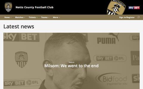 Screenshot of Press Page nottscountyfc.co.uk - Notts County FC - Latest news - captured Oct. 27, 2017