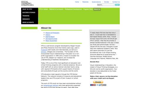 Screenshot of About Page vtshome.org - What is VTS? - About Us - Visual Thinking Strategies - captured Oct. 26, 2014